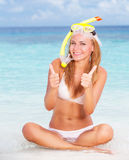 Happy woman on the beach Royalty Free Stock Photography