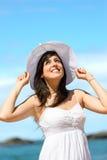 Happy woman on beach holidays Royalty Free Stock Photos