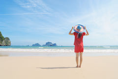 Happy woman on the beach in Krabi Thailand Stock Image
