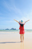 Happy woman on the beach in Krabi Thailand Stock Photos