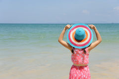 Happy woman on the beach in Krabi Thailand Royalty Free Stock Images