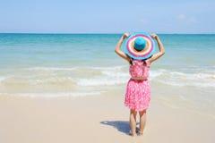 Happy woman on the beach in Krabi Thailand Stock Photos