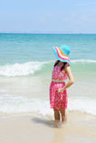 Happy woman on the beach in Krabi Thailand Royalty Free Stock Photos