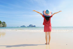 Happy woman on the beach in Krabi Thailand Stock Images