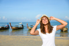 Happy woman on beach vacation in Thailand Royalty Free Stock Images