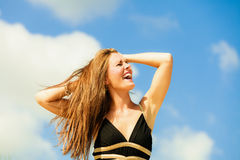 Happy woman on beach Royalty Free Stock Images