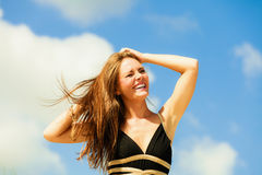 Happy woman on beach Royalty Free Stock Photo