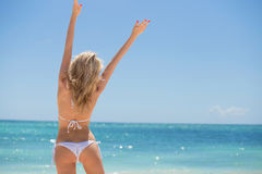 Happy woman on the beach royalty free stock photos