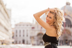 Happy woman with beautiful hairstyle Royalty Free Stock Photos