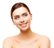 Happy Woman Beauty Face Skin, Beautiful Smiling Model Makeup. Happy Woman Beauty Face Skin, Smiling Model Looking Side Away, Beautiful Girl Makeup, white royalty free stock images