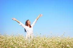Happy woman in beauty field Royalty Free Stock Photography