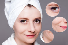 Happy woman after beauty treatment - before/after shots - skin c. Beauty concept - skin care, anti-aging procedures, rejuvenation, lifting, tightening of facial royalty free stock image