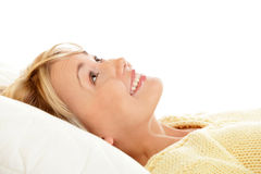 Happy woman bedding Royalty Free Stock Photography