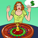 Happy Woman Behind Roulette Table Celebrating Big Win. Casino Gambling. Pop Art. Vector retro illustration Stock Images