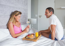 Happy woman being brought breakfast in bed by husband. Happy women being brought breakfast in bed by husband at home in bedroom Stock Photos