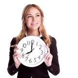Happy woman with big clock Royalty Free Stock Photo