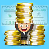 Happy woman and big golden coins Royalty Free Stock Photo