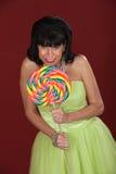 Happy Woman With Big Lollipop stock image