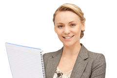 Happy woman with big notepad Royalty Free Stock Photos