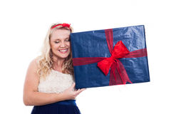 Happy woman with big present Royalty Free Stock Photography