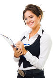 Happy woman with big smile write on tablet Royalty Free Stock Image