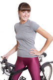 Happy woman with bike Royalty Free Stock Images