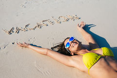Happy woman in bikini and summer vacation concept Stock Images
