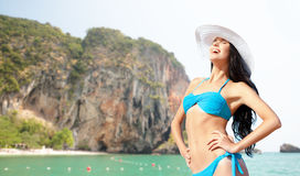 Happy woman in bikini swimsuit on bali beach Royalty Free Stock Images