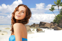 Happy woman in bikini swimsuit on tropical beach Royalty Free Stock Images