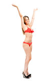 Happy woman in bikini on white background Stock Image