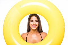Happy woman in bikinin with orange swim ring isolated on white background. Happy woman in bikinin with orange swim ring isolated on white stock photo
