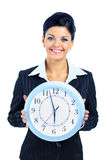 Happy woman in black with clock. Over white Stock Photos