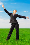 Happy woman in black costume Royalty Free Stock Photography