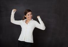 Happy Woman blackboard Stock Photography