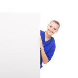 A happy woman with a blank banner Royalty Free Stock Photos