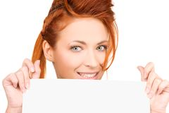 Happy woman with blank board Stock Photo