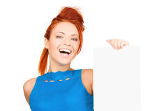 Happy woman with blank board Royalty Free Stock Photography