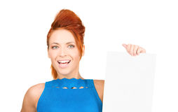 Happy woman with blank board Stock Photography