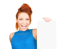Happy woman with blank board Royalty Free Stock Image