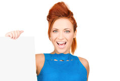 Happy woman with blank board Royalty Free Stock Photos