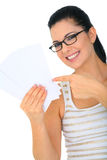 Happy Woman With Blank Cards. Attractive woman holding and pointing to empty blank cards stock images