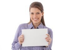 Happy woman with blank sheet Stock Photo