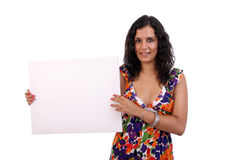 Happy woman with blank sign Stock Photography