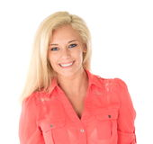 Happy woman with blond hair. Portrait of attractive young woman with long blond hair, white background Stock Photo