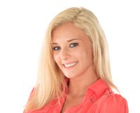 Happy woman with blond hair. Happy young woman with long blond hair, white background Royalty Free Stock Photography