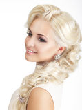 Happy Woman Blond with Tress and Jewelry Royalty Free Stock Image