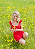 Happy woman on a blooming meadow Stock Photos