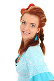 Happy woman in blue with coiffure Royalty Free Stock Photos