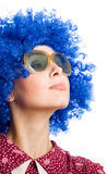 Happy woman in blue wig Stock Image
