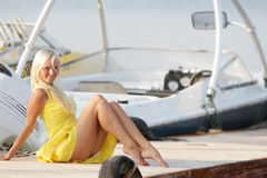 Happy woman on boats background Royalty Free Stock Images